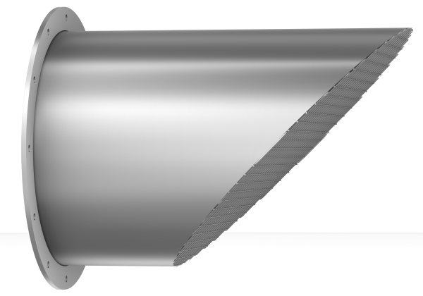 Air outlet pipes 45° with bird-guard, with loose flange-0